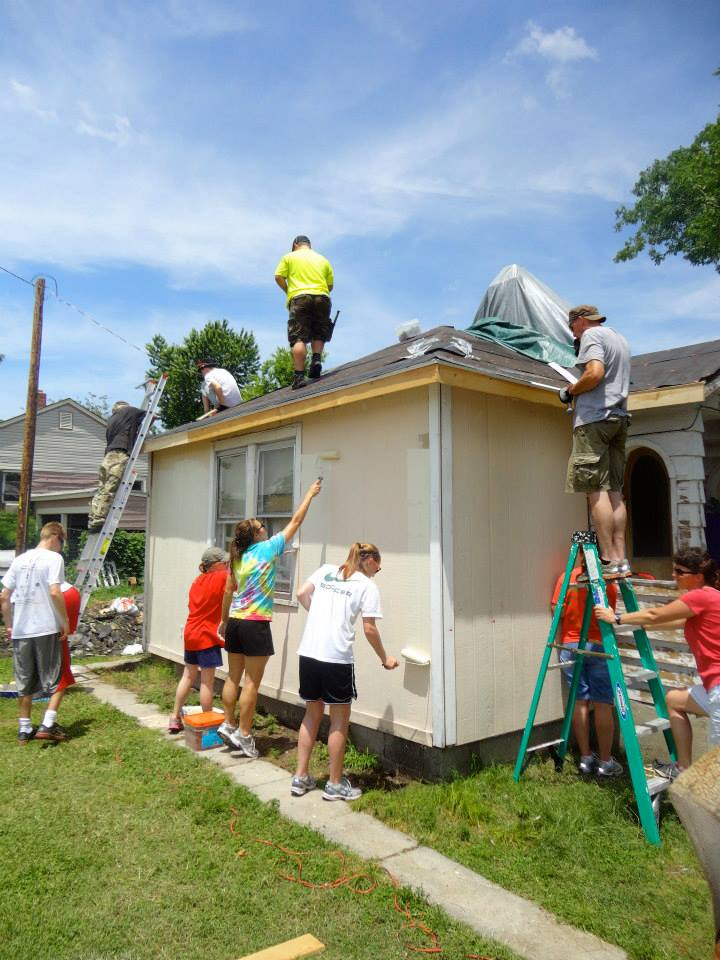 Team Joplin--Youth Mission Trip--helping to repair a house