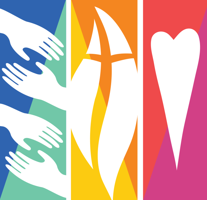 Fremont United Methodist Church logo-hands to represent community-cross and flame to represent our faith, and  a heart to represent love.